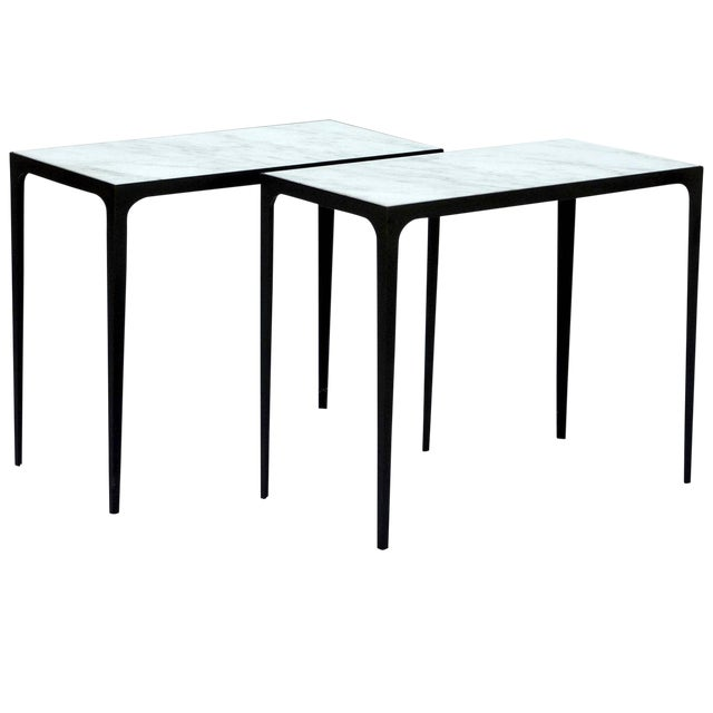 """Contemporary """"Esquisse'"""" Iron and Honed Marble Side Tables - a Pair For Sale"""