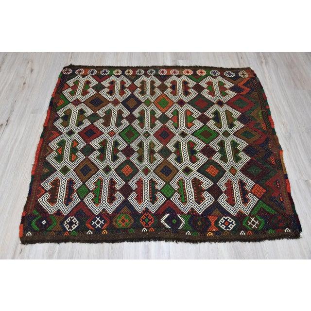 Southwestern Wool Kilim - 3′11″ × 4′3″ - Image 2 of 8