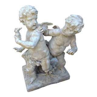 Cast Stone Cupids Statue From France For Sale