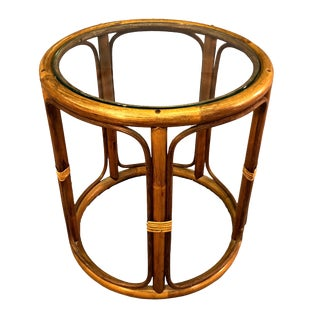 Bamboo & Glass Top Side Table