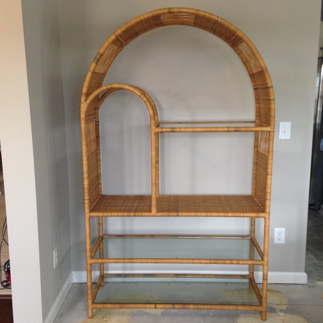 Mid-Century Rattan & Glass Etagere / Bookcase - Image 3 of 8