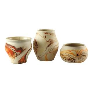 Nemadji Pottery Planter Vases - Set of 3