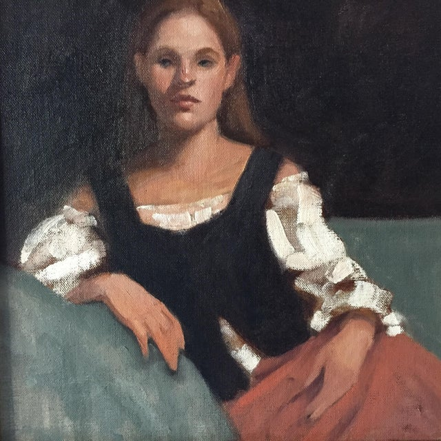 Portrait of a Young Woman Oil Painting - Image 4 of 5