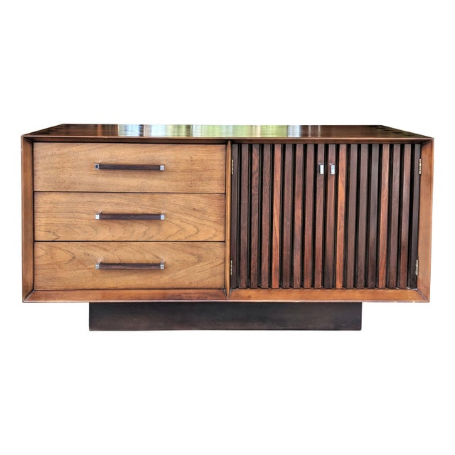 Brown 1970s Mid Century Modern Lane Furniture Rosewood and Walnut Small Credenza For Sale - Image 8 of 8