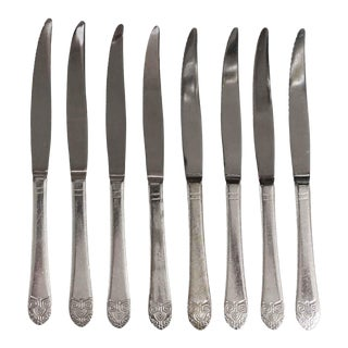 Salvaged Waldorf Art Deco Serrated Steak Knife Set of 8 For Sale