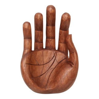 Vintage Oversized Hand Carved Solid Wood Hand Sculpture Tray For Sale
