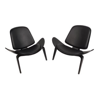 Contemporary Modern Ebonized Shell Chairs - a Pair