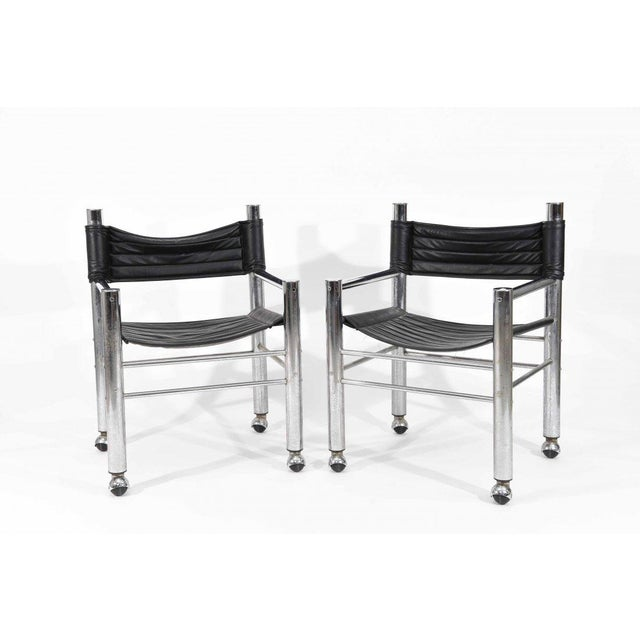 Chrome Leather Chairs - Pair - Image 2 of 6