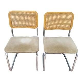 Vintage Mid Century Modern Marcel Breuer Cane Chrome Cesca Chairs- A Pair For Sale