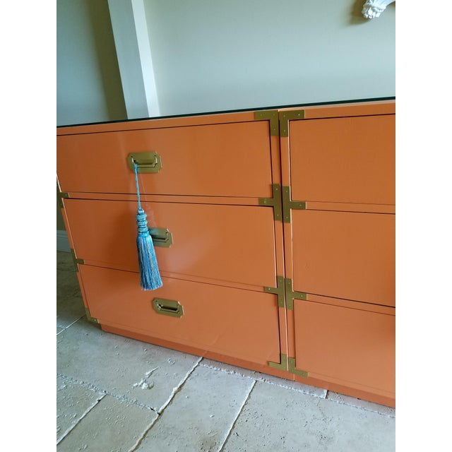 Orange Campaign Style Nightstands - A Pair - Image 4 of 8