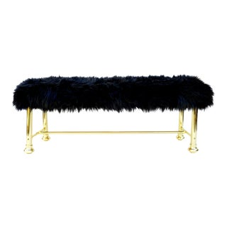 "Mid-Century Hollywood Regency Brass & Black Faux Fur 49"" Bench by Dresher Inc."