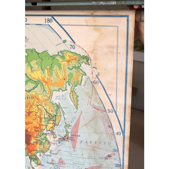 Industrial Fantastic 1950s Schoolhouse World Map For Sale - Image 3 of 7