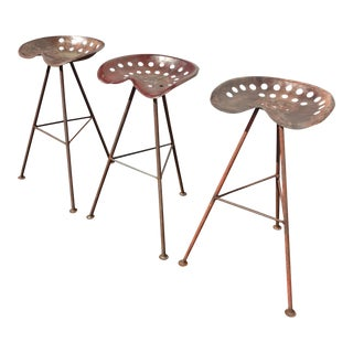French Country Farmhouse Tractor Seat Iron Bar Stools - Set of 3 For Sale