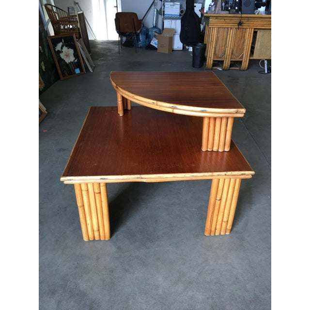 Boho Chic Restored Rattan Corner Side Table With Removable Mahogany Second Tier For Sale - Image 3 of 7