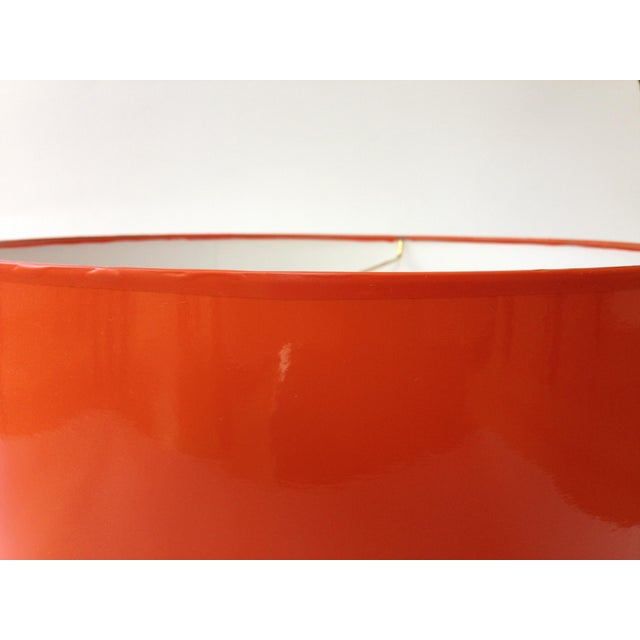 Lampshade Designs Medium High Gloss Orange Drum Lamp Shade For Sale - Image 4 of 6