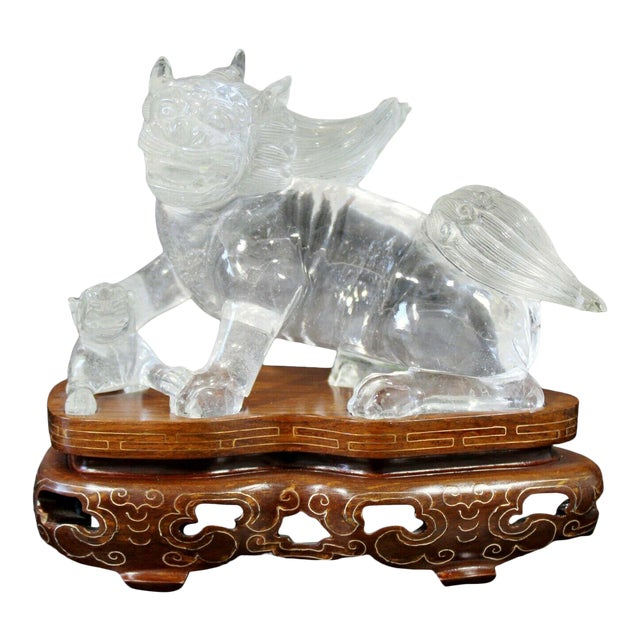 Chinese Rock Crystal Glass Fu Dog Statuette Wood Base Table Sculpture For Sale