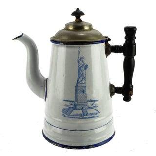 Antique Statue of Liberty Enamel Coffee Pot