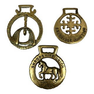 Vintage British Brass Horse Stirrup Buckle Bottle Openers - Set of 3 For Sale