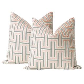 """22"""" Blush Grecian Cut Velvet Pillows - a Pair For Sale"""
