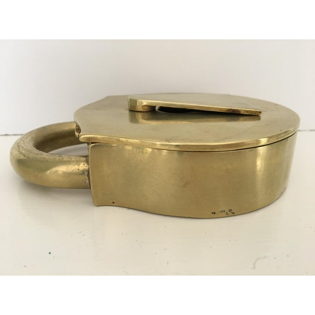 Gold Mid-Century Virginia Metalcrafters Solid Brass Padlock Ashtray/Catchall For Sale - Image 8 of 13