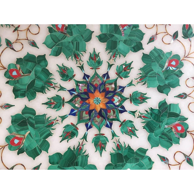 Pietra Dura Marble-Topped Octagonal Table Inlaid in Taj Mahal Anglo Raj Style For Sale - Image 10 of 13