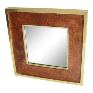 Vintage Soicher-Marin Burl Wood & Brass Wall Mirror For Sale