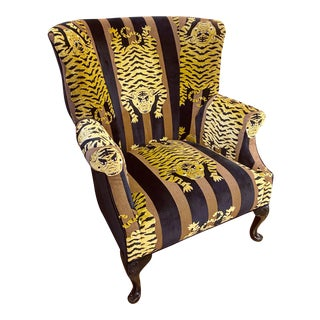 Custom Jokhang for Schumacher Velvet Tiger Wing Chair For Sale