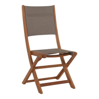 Stella Teak Outdoor Folding Chair in Taupe Textilene Fabric For Sale