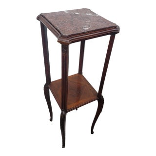 Antique French Louis XV Style Mahogany Inlaid Parquetry Tiered Etagere Side Table For Sale