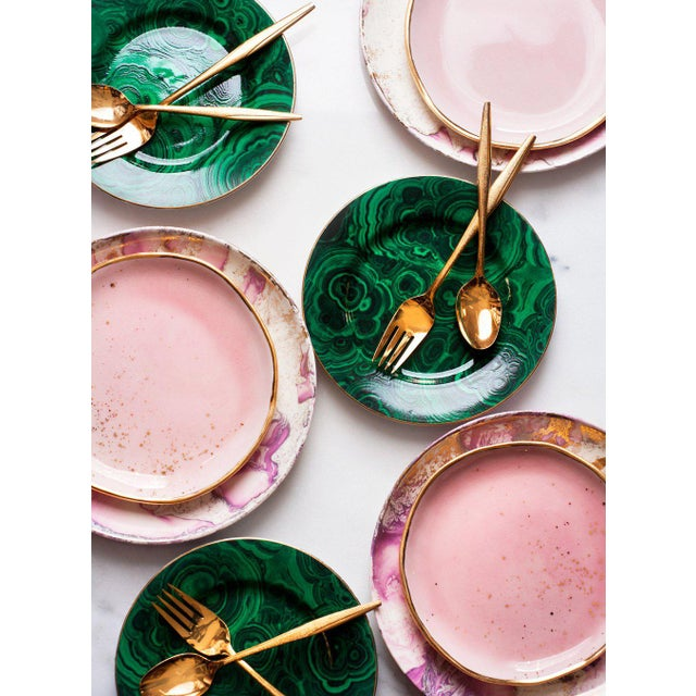 Art Deco Suite One Studio Dessert Plates in Rose With Gold Splatters For Sale - Image 3 of 6