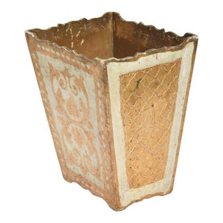 Italian Neoclassical Wood Florentine Gilt Trash Can Waste Basket For Sale