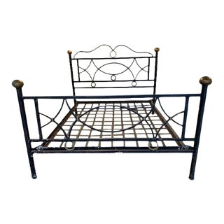 Hand-Tooled Iron Queen Bedframe For Sale
