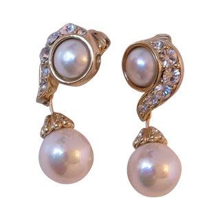 Christian Dior Rhinestone & Pearl Drop Clip on Earrings For Sale