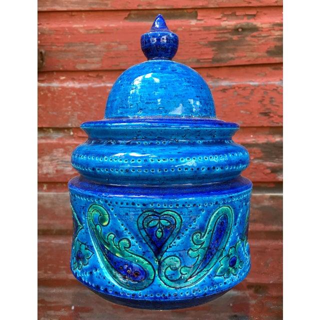 Blue Vintage Mid-Century Modern Bitossi Blue Art Pottery Lidded Jar For Sale - Image 8 of 8