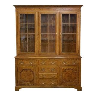 Baker Furniture Queen Anne Style Elm & Oak China Cabinet