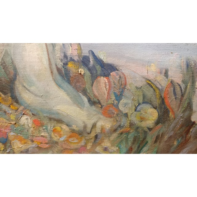 Blue Olive Rush Portrait of Louise Block Oil Painting, C. 1900s For Sale - Image 8 of 10