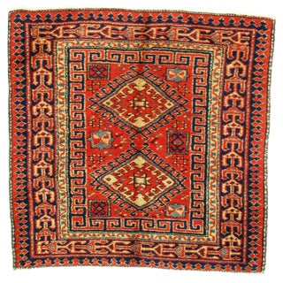 Antique Turkish Kazak Design Hand Knotted Wool Rug - 3′ × 3′