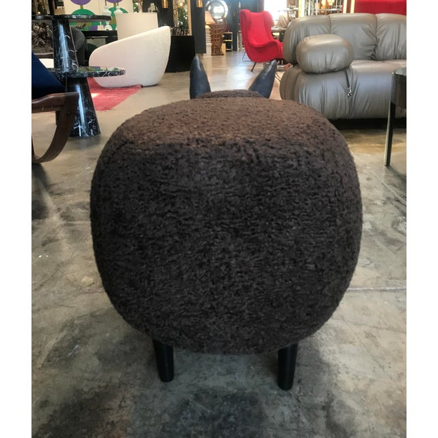 Wood Carved Wood Dark Brown Sheep Ottoman For Sale - Image 7 of 9