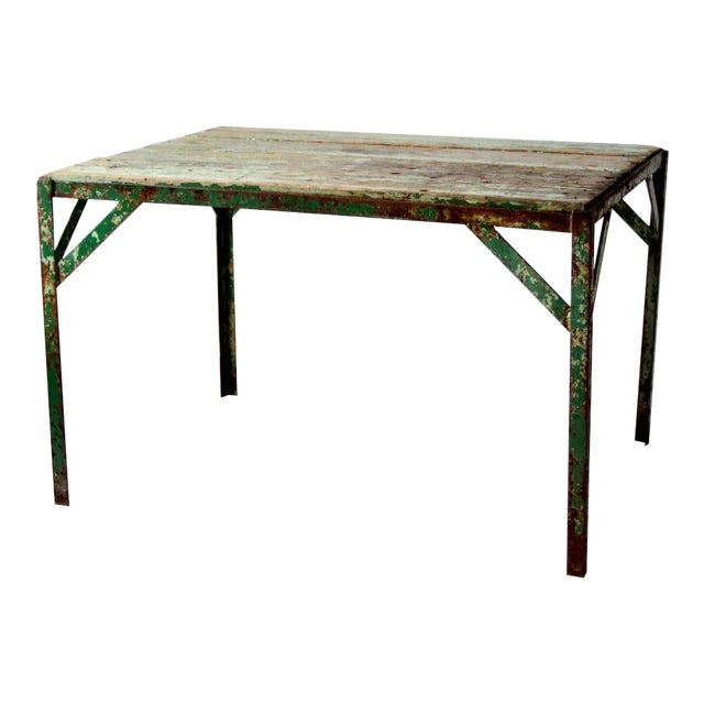 Vintage Wood Top Work Table For Sale