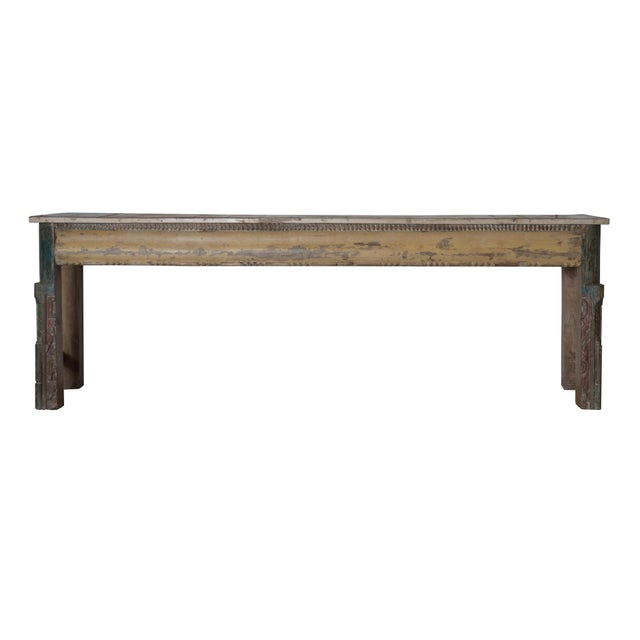 Turquoise Vintage Reclaimed Wood Teak Indian Console For Sale - Image 8 of 8