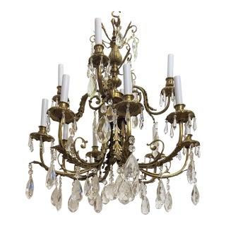 1920s Louis XVI Bronze & Crystal 12 Lights Chandelier For Sale