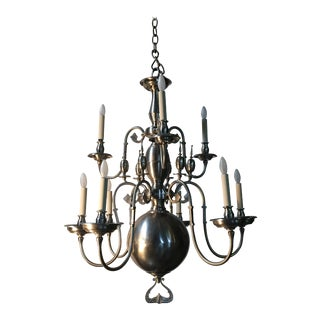 19th Century Flemish Chandelier with a Pewter Finish For Sale