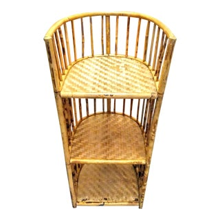 Burnt Bamboo Curved Woven 3 Tier Shelf Small Etagere Corner Cabinet Shelf For Sale