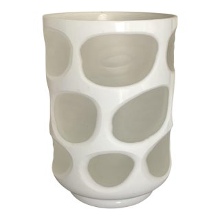 White and Clear Contemporary Glass Vase
