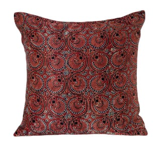Studio Pastiche Floral Vines Blue and Red Pillow For Sale