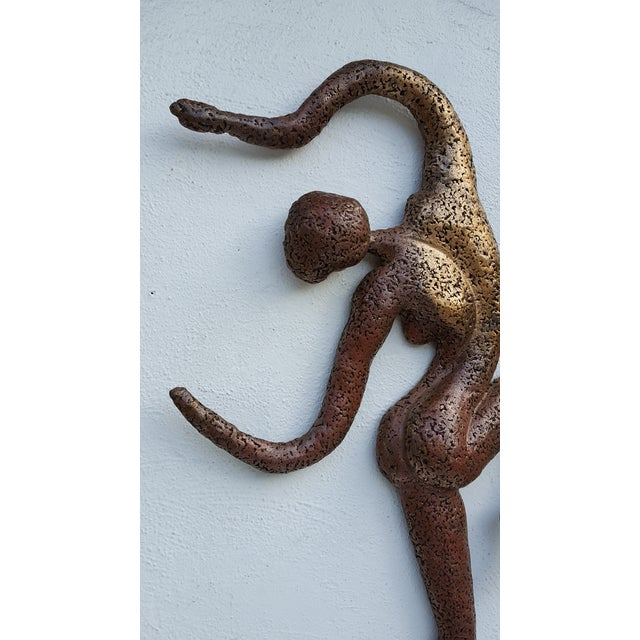 Overscale Brutalist Abstract Acrobats Bronze Wall Sculptures a Pair. - Image 8 of 11