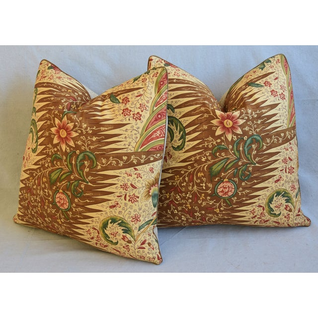 """French Pierre Frey La Riviere Feather/Down Pillows 21"""" Square - Pair For Sale - Image 9 of 13"""