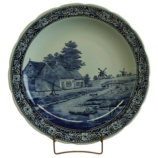 Plate, Signed Sonneville Boch Belgium Delfts Blue For Sale