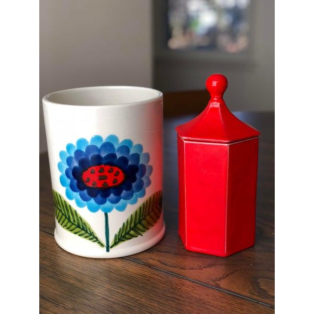 Vintage Red Ceramic Canister - Image 6 of 8