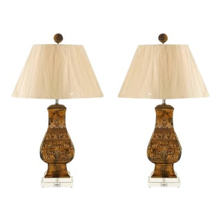 Chic Pair of Restored Vintage Cast Urn Lamps For Sale